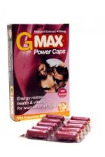 G-Max Power Caps Femme (10 gélules) : Le booster de Libido pour femmes 100% naturel : augmente le Désir et le Plaisir. Effets Puissants et Rapides.