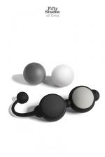 Coffret boules Kegel - Fifty Shades of Grey : Un coffret de boules de geisha comprenant 4 boules silicone à poids pour la tonicité intime et le plaisir sexuel.