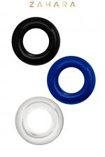 Set 3 Cockrings multicolore - Zahara : Set de 3 anneaux péniens extensibles  noir, bleu et cristal, en TPR permettant de prolonger et renforcer l'érection.