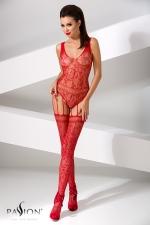 Combinaison BS051 - Rouge : Combinaison fantaisie en résille rouge, composée d'un body et de bas reliés par de fines jarretelles.