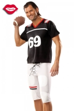 Costume Footballeur Américain 69 : Vous serez trop sexy dans ce costume moulant de footballeur américain, qui porte le numéro de votre position préférée : 69 !