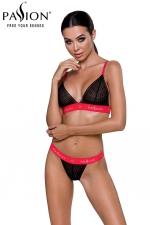 Ensemble lingerie Glamis - Noir et rouge : Ensemble lingerie brassière et string, le style casual sexy au féminin.