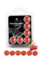 6 Brazilian Balls - cerise : La chaleur du corps transforme la brazilian ball en liquide glissant au parfum de cerise, votre imagination s'en trouve exacerbée.