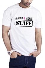 T-shirt Jacquie et Michel Staff - blanc : T-shirt humoristique Jacquie et Michel STAFF, en blanc, pour impressionner votre entourage !