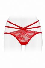 Culotte ouverte  Nadia - rouge : Culotte coquine rouge, en dentelle et ornements, offrant largement la vue sur les fesses, par Fashion Secret.