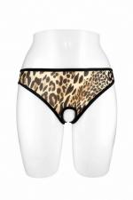 Culotte ouverte Ophelia - léopard - Culotte coquine léopard en résille transparente, ouverte entre les cuisses et sur le bas des fesses, par Fashion Secret.