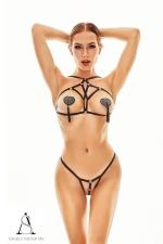 Harnais lingerie Xantho - Angels Never Sin : Ensemble deux pièces top seins nus et culotte ouverte très sexy avec son style harnais totalement nu.
