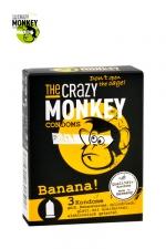 3 Préservatifs Crazy Monkey Banane : 3 préservatifs jaunes, arôme banane, cylindriques, lisses et lubrifiés, par Crazy Monkey.