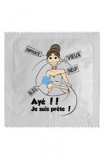 Préservatif humour - Ayé Je Suis Prête : Préservatif Ayé Je Suis Prête, un préservatif personnalisé humoristique de qualité, fabriqué en France, marque Callvin.