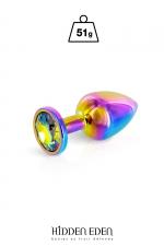 Plug bijou aluminium Rainbow S - Hidden Eden : Plug anal en aluminium arc-en-ciel d'une longueur de 7,2 cm et d'un diamètre moyen de 2,7 cm. Décoré d'un strass rond multicolore.